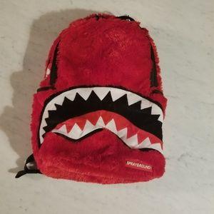 Red Sprayground Fur Monster Backpack